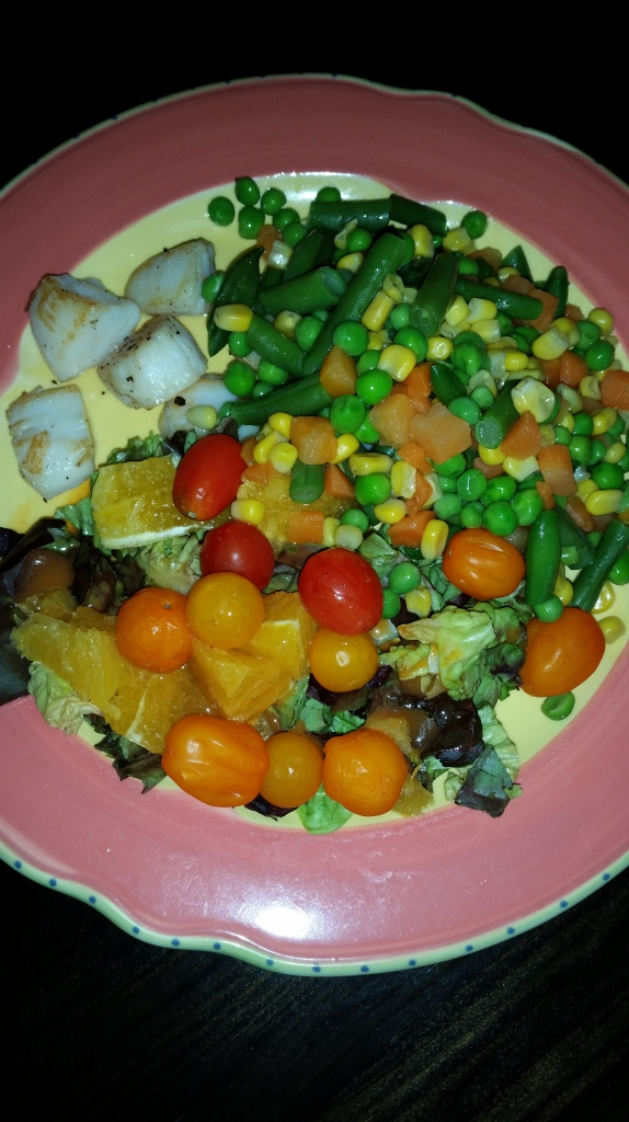 Veggies with a side of scallops.
