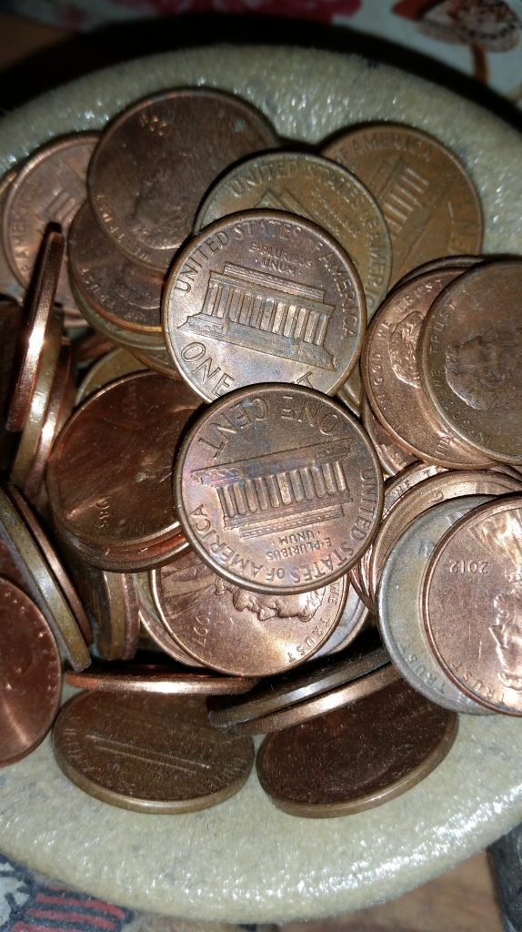 Pennies as counters.